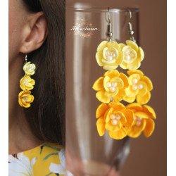 """""""Солнечный градиент"""" длинные желтые серьги с цветами"""