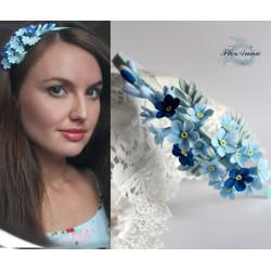 """""""Незабудки"""" голубой ободок с цветами ручной работы"""