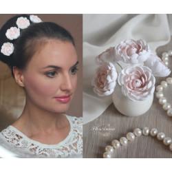 !Бело-пудровые пионы! (1 шт) шпильки для волос с цветами