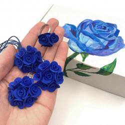 """Оригинальный подарок девушке. """"Синие розы"""" (серьги+ кулон+кольцо+ подарочная коробочка)"""
