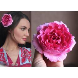 """Заколка для волос ручной работы  с большим цветком """"Розовый пион"""""""