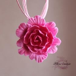 """Розовый пион"" кулон"