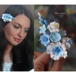 Голубая заколка для волос с цветами из полимерной глины Нежный бриз