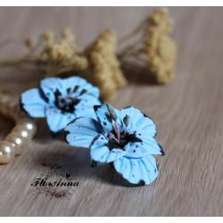 """""""Голубые гладиолусы"""" серьги цветы"""
