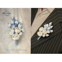 """""""Бело-голубой жасмин""""  свадебный комплект ручной работы (браслет+бутоньерка)"""