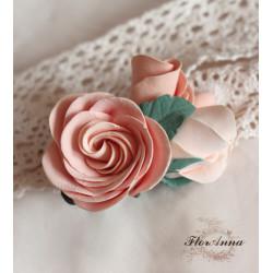 """""""Викторианские розы"""" персиковая заколка для волос с розами"""
