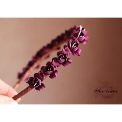 """""""Виноградный морс"""" бордовый обруч для волос с цветами ручной работы"""