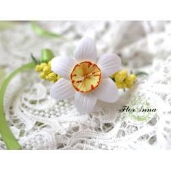 """""""Нарцисс с мимозой"""" авторский браслет на руку с цветами из полимерной глины."""