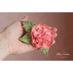 """""""Английская роза"""" персиковая заколка для волос ручной работы."""