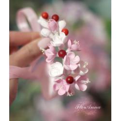 """""""Вишенки"""" розовый браслет/веточка на руку с цветами"""