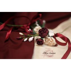 """""""Элегантный бордо"""" свадебные украшения с цветами на бокалы (съемные цена за1 шт, без бокалов)"""