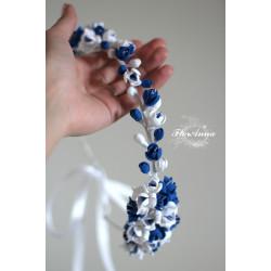 """""""Хрустальная волна"""" синий свадебный венок с цветами"""