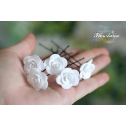 """""""Белые розы"""" 2,5см(1шт) шпильки для волос"""