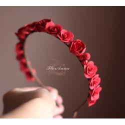 """""""Красные розы"""" длинный ободок для волос"""