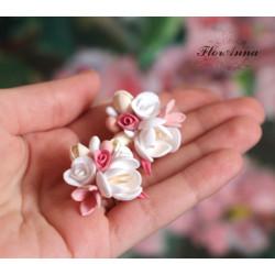"""""""Десерт"""" розовые серьги ручной работы из полимерной глины"""
