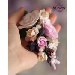 """""""Викторианские розы с фрезиями"""" заколка для волос"""