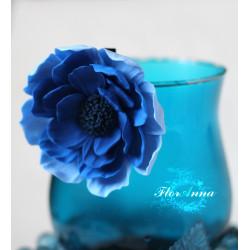 """""""Таинственность"""" синяя заколка цветок"""