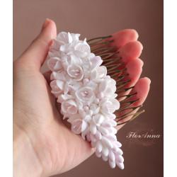 """""""Бело-розовые фрезии"""" свадебный гребень для волос"""