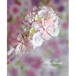 """""""Воздушная нежность"""" розовый обруч с цветами"""