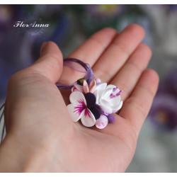 """""""Воздушная сирень"""" фиолетовый кулон ручной работы из полимерной глины"""