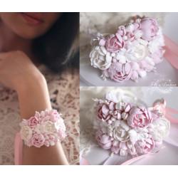 """""""Бело-розовые пиончики"""" (браслет+заколка). Свадебные украшения ручной работы из полимерной глины"""