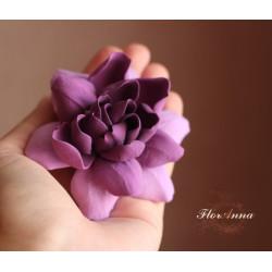 """""""Гардения цвета фуксия с переходом цвета"""" заколка/ брошь цветок из полимерной глины"""