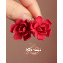 """""""Готика"""" красные серьги цветы"""