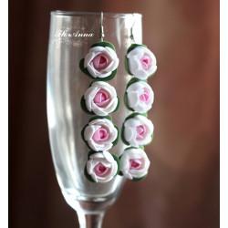 """""""Бело-розовые пионы с листиками"""" длинные серьги с цветами"""