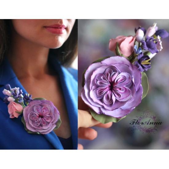 """""""Английская роза с фрезиями"""" сиреневая заколка/брошь с цветами ручной работ"""