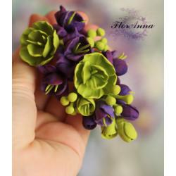 """""""Контраст"""" фиолетово-зеленая  брошь с цветами ручной работы"""