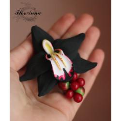 Заколка для волос Орхидея с ягодами (8см)