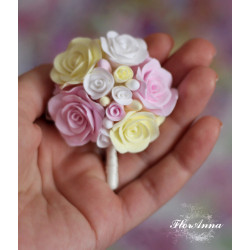 """""""Букет невесты"""" заколка/брошь с розами"""