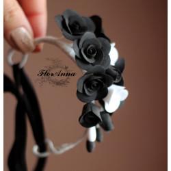 """Браслет - веточка с цветами из полимерной глины """"Черно-белые розы"""""""