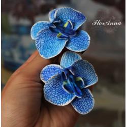 """"""" Синяя орхидея с росписью"""" заколка цветок ручной работы (1 шт)"""