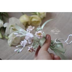 """""""Олива""""свадебные украшения на бокалы с цветами (съемные украшения 1 шт, без бокалов)"""