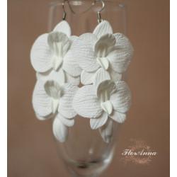 """""""Белые орхидеи с бутонами"""" крупные серьги"""