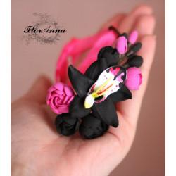 """"""" Орхидея с пионами"""" черный браслет"""