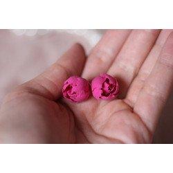 """""""Пиончики цвета фуксия"""" розовые серьги пусеты-гвоздики цветы"""