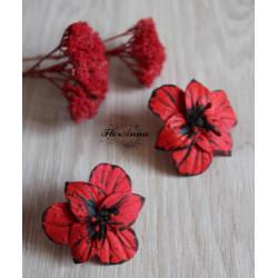 """""""Красные гладиолусы"""" красные серьги с цветами ручной работы"""