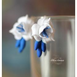"""""""Бело-синие фрезии"""" серьги"""