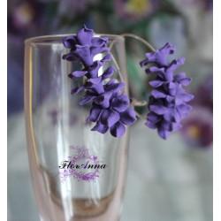 """""""Фиолетовые стефанотисы"""" серьги кольца-конго ручной работы с цветами"""