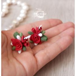 Серьги гвоздики Красные розы с бутонами