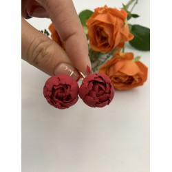 """""""Красные пионы"""" красные серьги цветы из полимерной глины"""