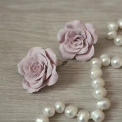 """""""Пыльные розы"""" крупные серьги с цветами из полимерной глины"""