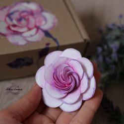 """Оригинальный подарок  девушке """"Сиреневая роза с росписью"""""""