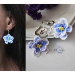 """""""Голубые фиалки"""" голубые серьги ручной работы с цветами"""