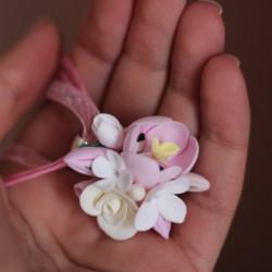 """""""Розовые тюльпаны с розами"""" кулон с цветами из полимерной глины"""