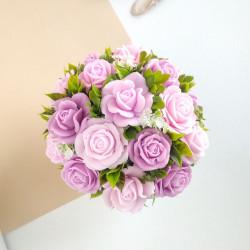Букет из мыла ручной работы «Лавандово-розовые розы». Оригинальный подарок девушке,женщине