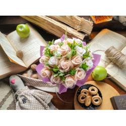 Букет из мыла ручной работы «Чайные розы». Оригинальный подарок на 8 марта