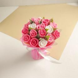 Букет из мыла ручной работы «Розово-белые розы»